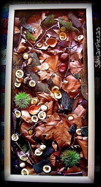 diy cuadro de otoño (hojas y frutos)