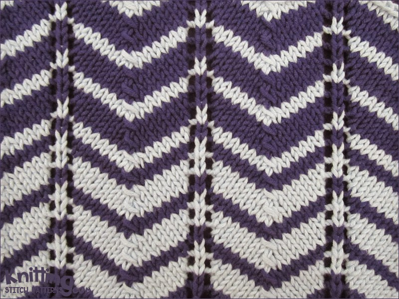 Color Knitting Patterns : Two-color Chevron Knitting Stitch Patterns