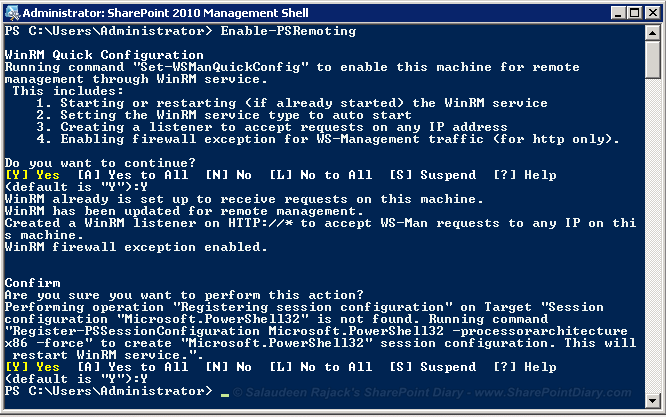 execute sharepoint 2010 powershell remotely