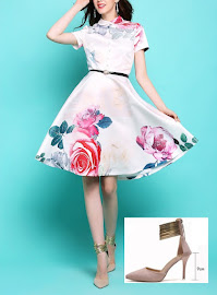 New 2017 Short Sleeve Big Roses Print White Flare Dress