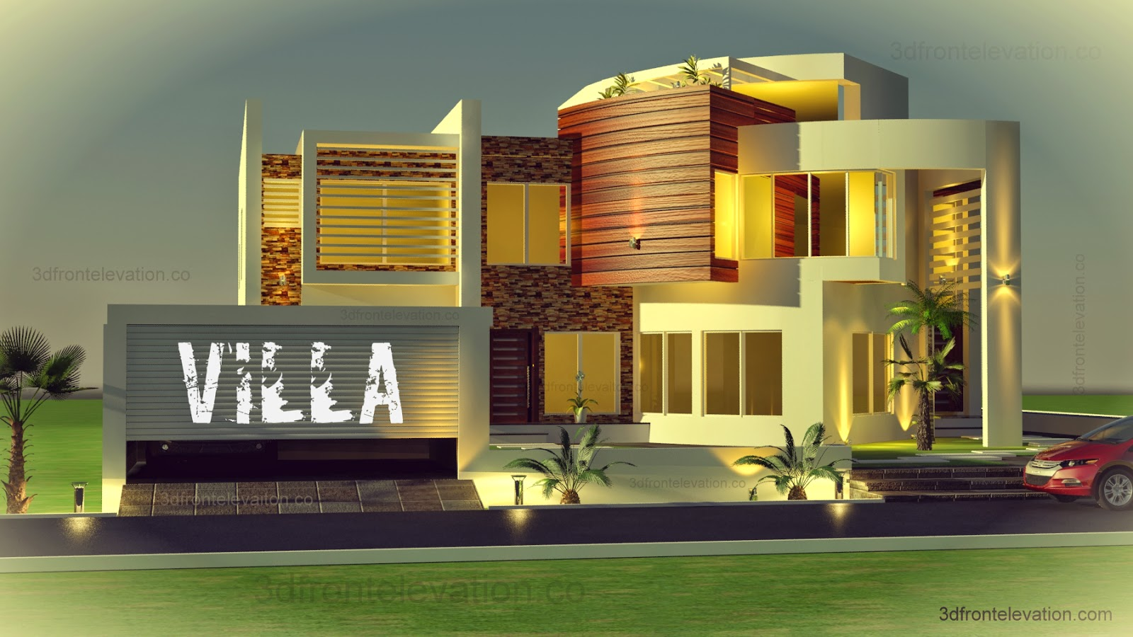 3d front oman modern contemporary villa 3d for Best modern villa designs