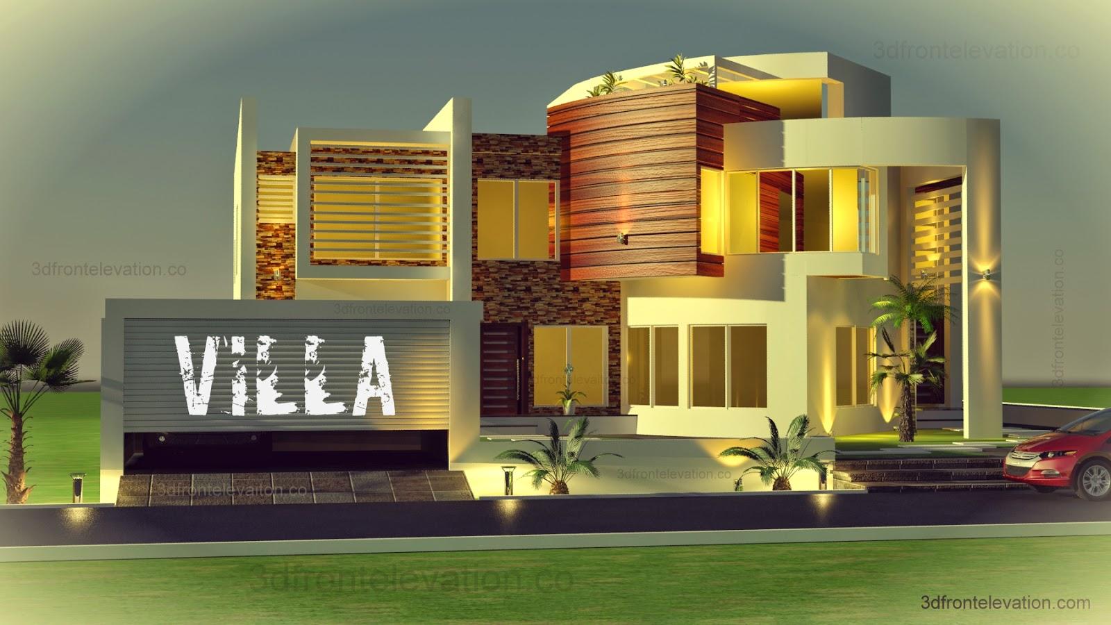 Modern Restaurant Front Elevation : D front elevation oman modern contemporary villa