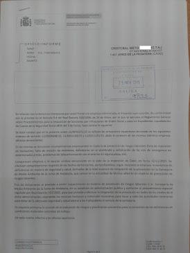 INFORME DE LA INSPECCIÓN DE TRABAJO POR LAS DENUNCIAS SOBRE: BOTIQUINES, EXTINTORES, ALUMBRADO DE E