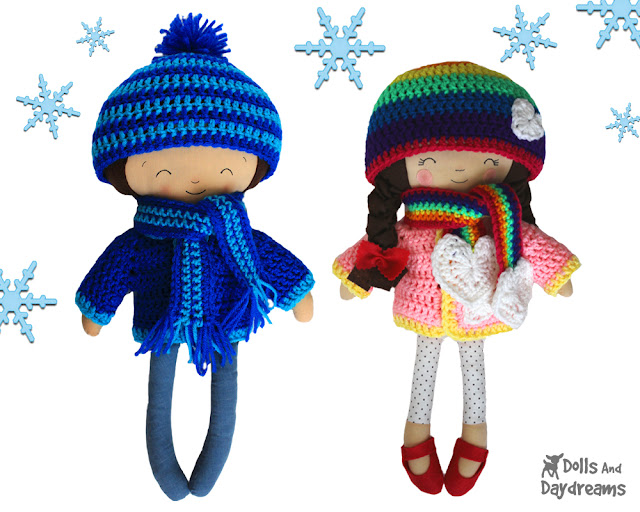 Winter Woolies Crochet Doll Clothes Pattern Set   Dolls And Daydreams