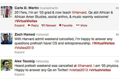 "Members of the Harvard community took to Twitter in force, using the hashtag #virtualvisitas, to reach out to the students. ""The Harvard community thrives on the resourcefulness of its members,"" said Harvard College Fellow Carla D. Martin. ""#virtualvisitas is a great example of that."" Screenshot of Twitter"