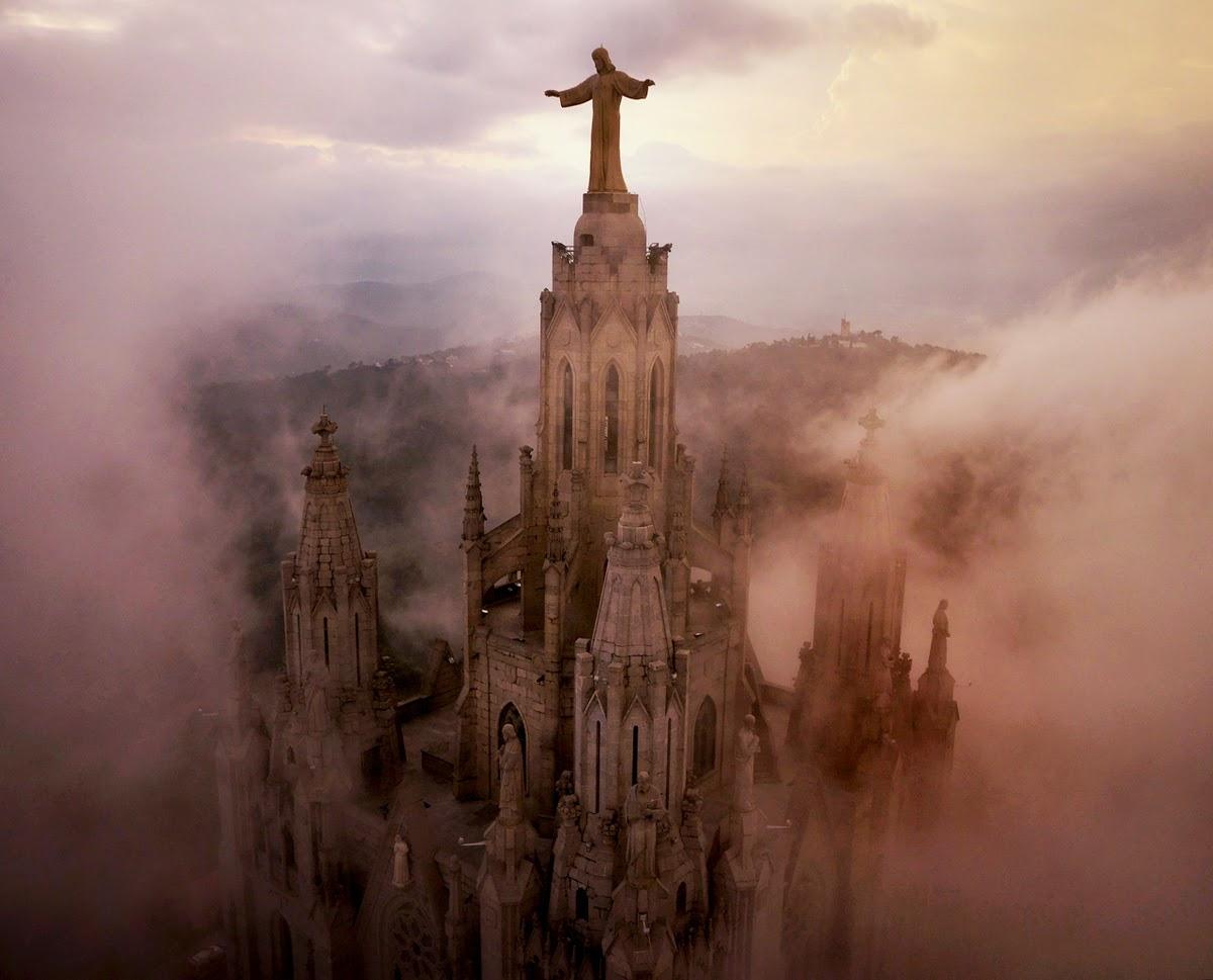 drone aerial photography world famous places, Sagrat Cor Church, Spain
