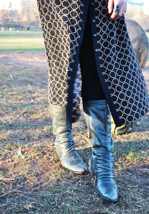 a style of your own blog, green leather gloves, thrifted, TJ Maxx boots, H&M, Prospect Park, fashion blogger