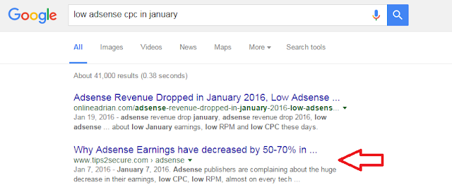 keyword: low adsense cpc in january