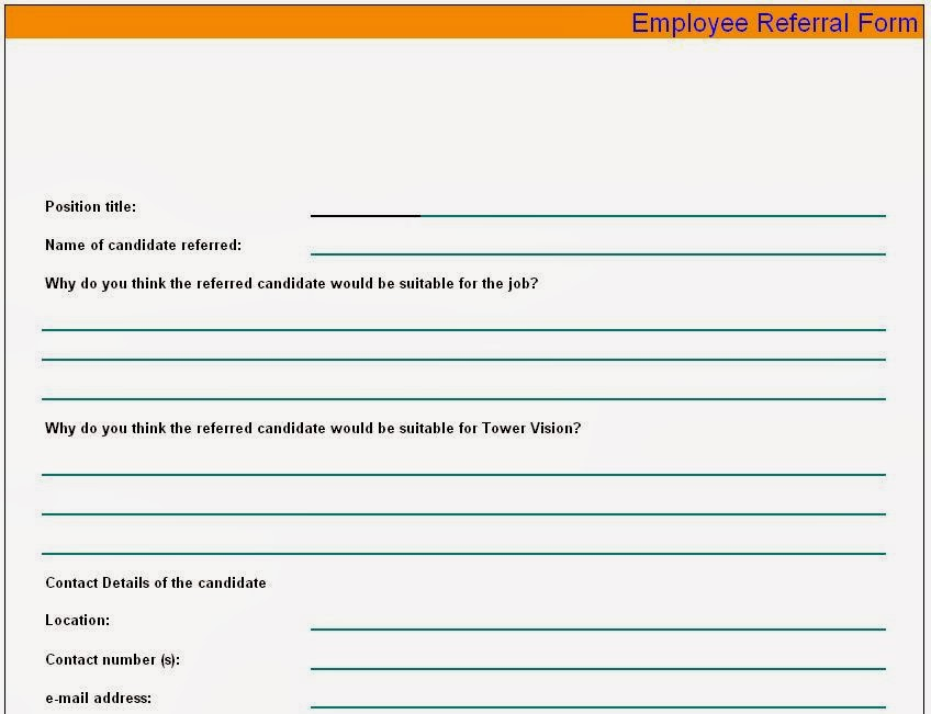 employee referral form sample. Black Bedroom Furniture Sets. Home Design Ideas