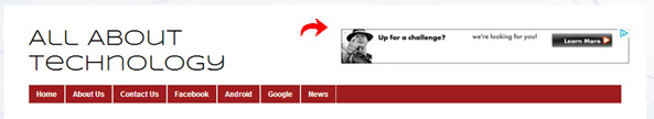 AdSense Unit in Blog's Header