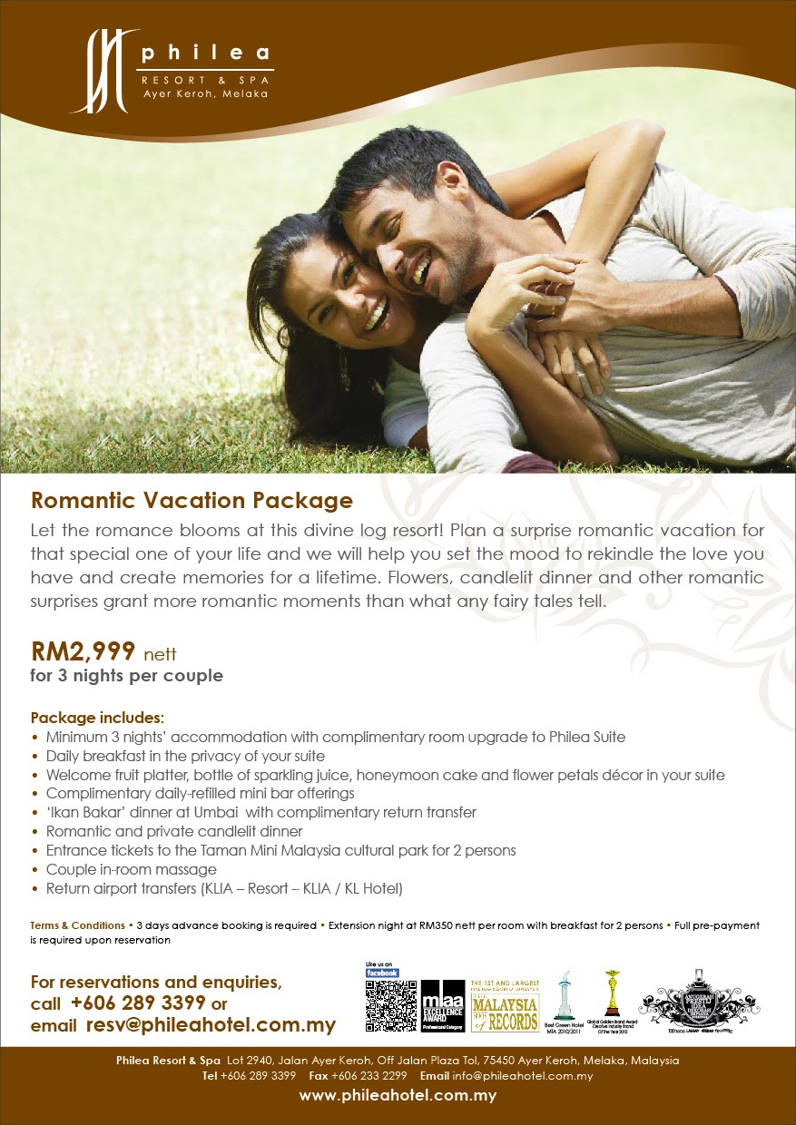 Romantic Vacation Package - Philea Resort and Spa in Ayer Keroh, Melaka RM2,999 nett for 3 nights per couple