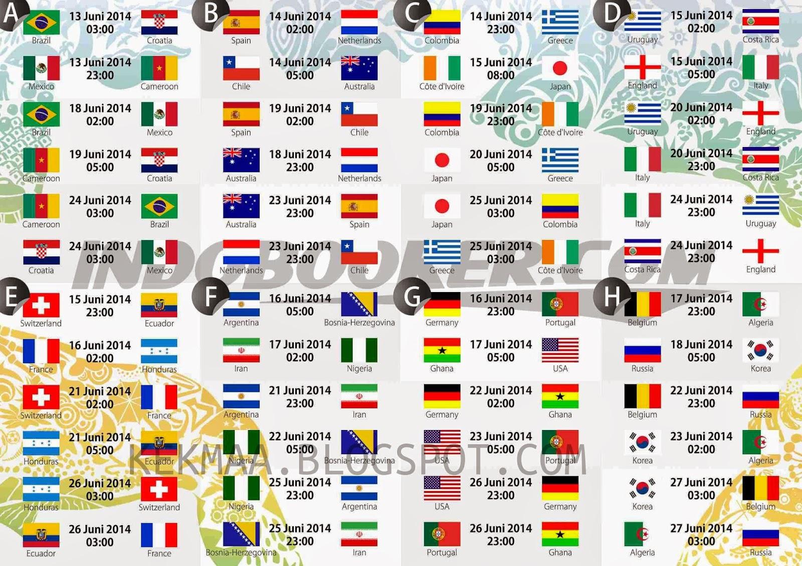 jadwal pertandingan bola piala dunia brazil 2014