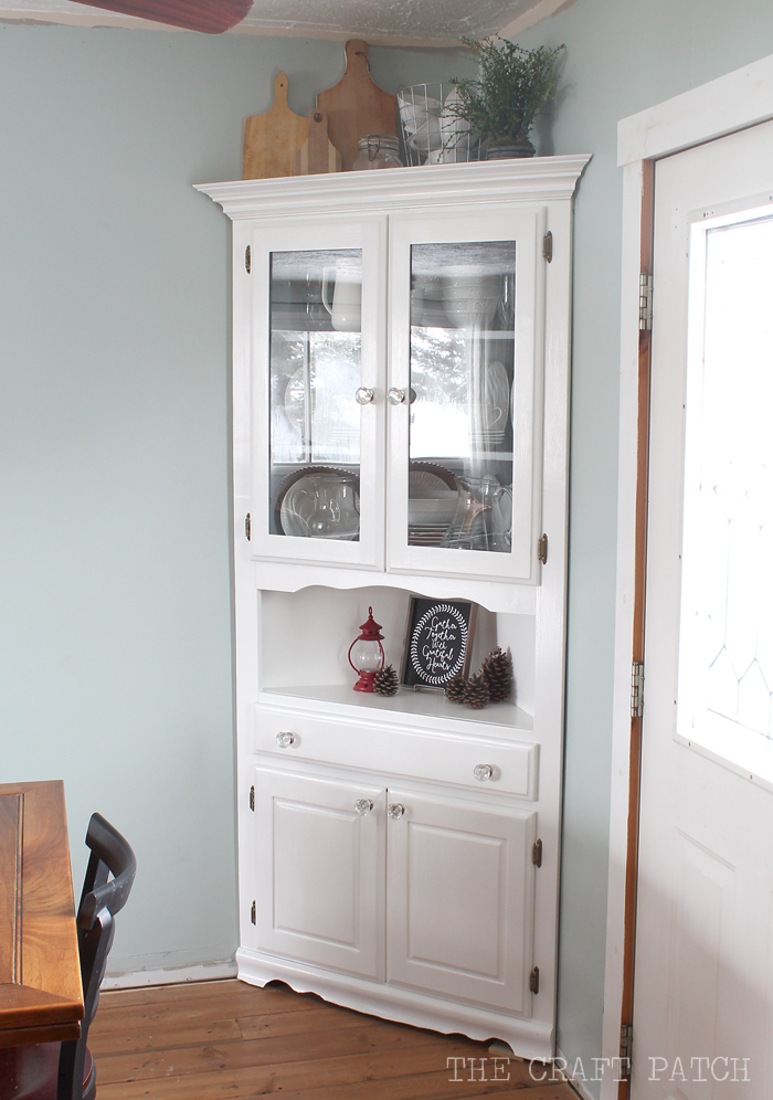 Etonnant I M Excited To Have A Pretty Place Display My Dishes And Decorate  Seasonally The Craft Patch Corner Hutch Furniture Makeover. Dining Room ...