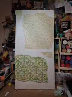 artist life, paper collage,green,tan,blue, book paper art
