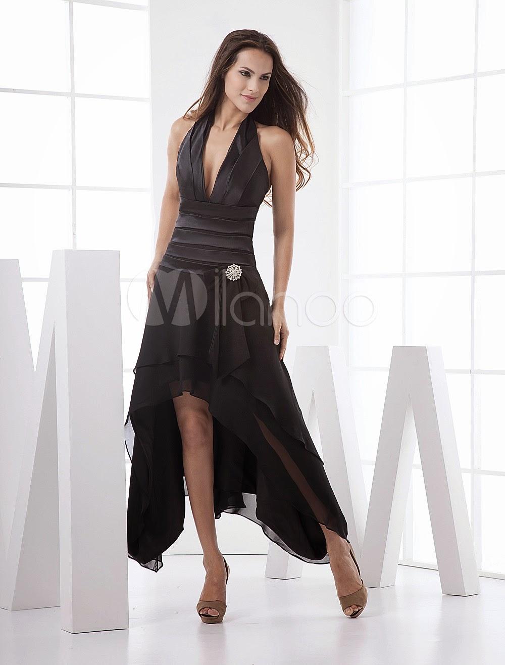 Robes sexy - Robe de bal noire de V-col foncé en mousseline de satin