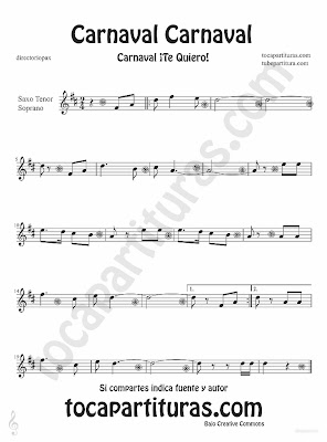 Tubescore Carnaval Carnaval partitura para Saxofón Tenor y Soprano canción popular de carnaval
