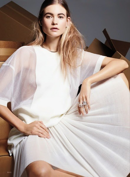 Calvin Klein Collection SS 2014 White Oversized Top With Sheer Mesh Sleeves