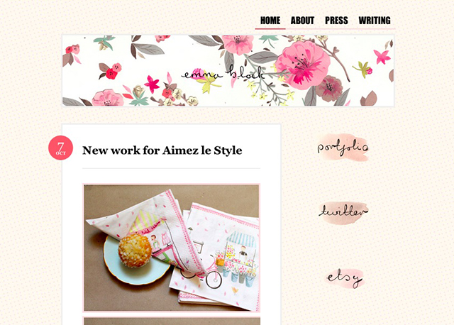 emma black illustration blog screenshot
