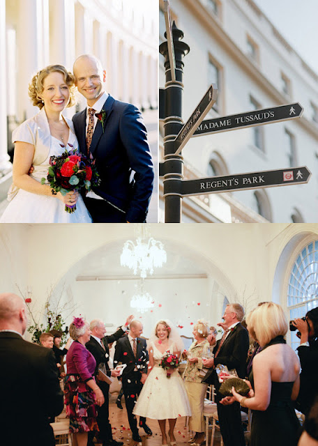 a red London wedding