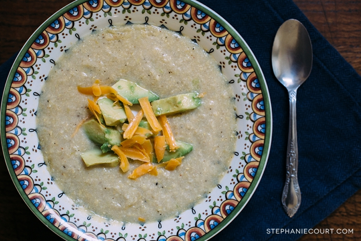 gluten free corn chowder with avocado and lime