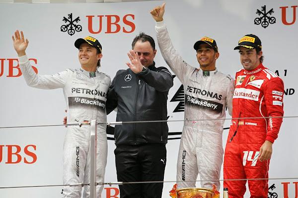 podio gp china formula 1 mercedes ferrari hamilton rosberg alonso