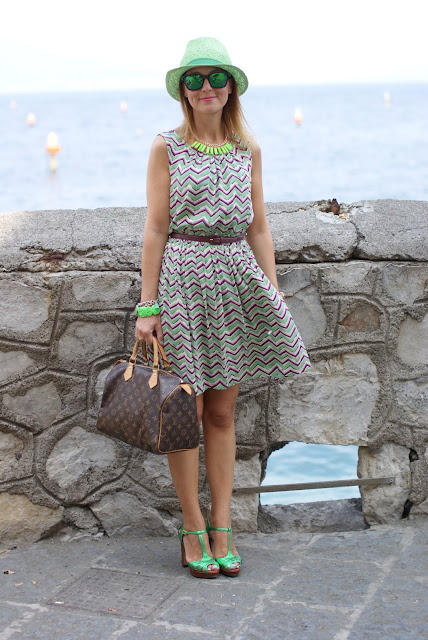 Darling chevron dress, green panama hat, Louis Vuitton Speedy 30, fashion blogger, Fashion and Cookies