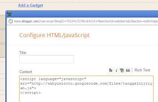 tambahkan script ke Widget blog