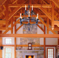 cathedral ceiling timber frame with chandelier light