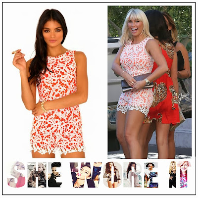 Billie Faiers, Crochet, Floral, Lace, Missguided, Neon Orange, Playsuit, Sleeveless, The Only Way Is Essex, TOWIE, Vegas, White,