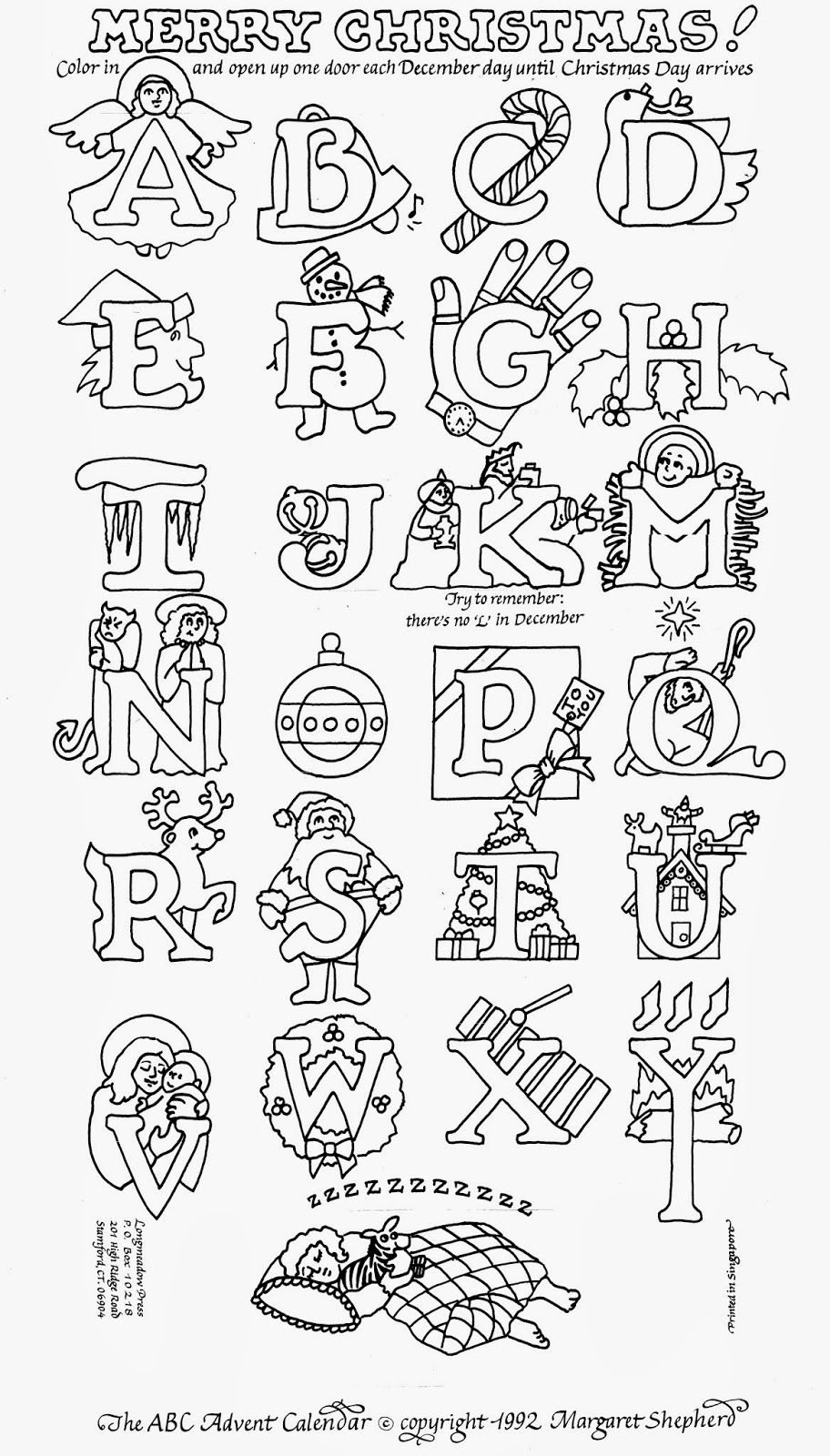 christmas advent calendar coloring pages - photo#25