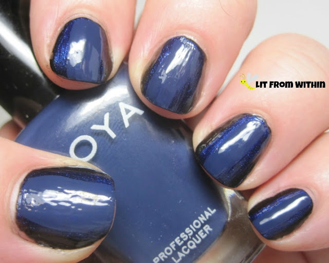 Leaving a little bit of Neve exposed, I covered the center of the nails with Zoya Sailor.