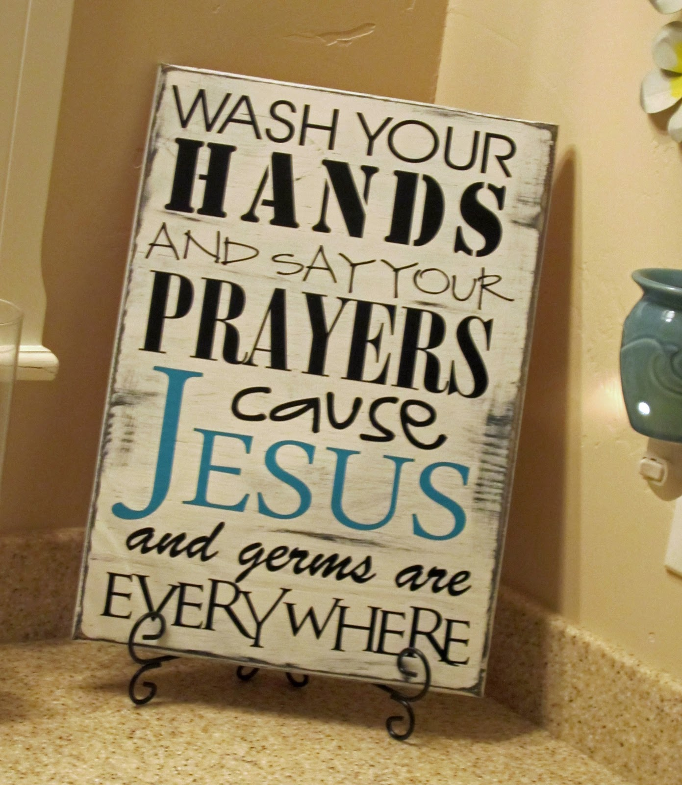 I saw this sign on  Sign Sealed Delivered. Kids Bathroom Sayings