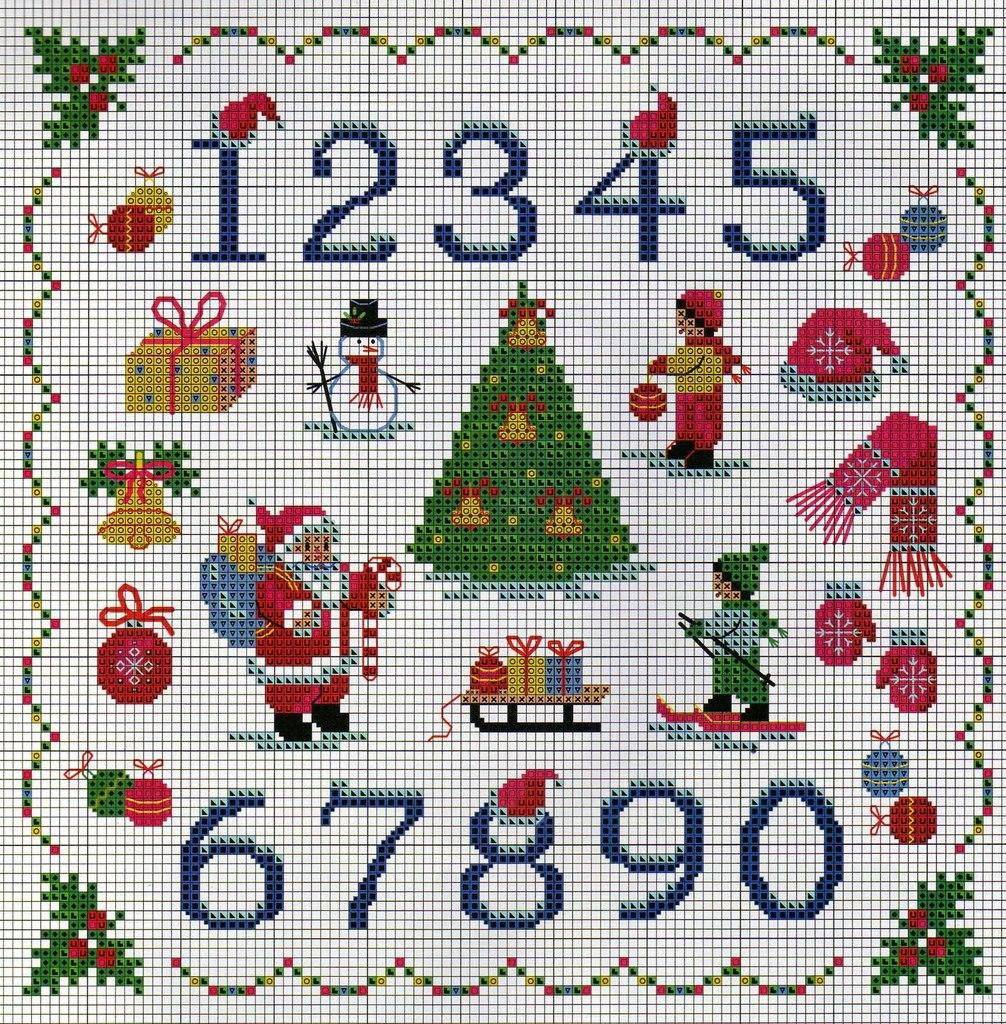 Схема вышивки чисел крестиком 54