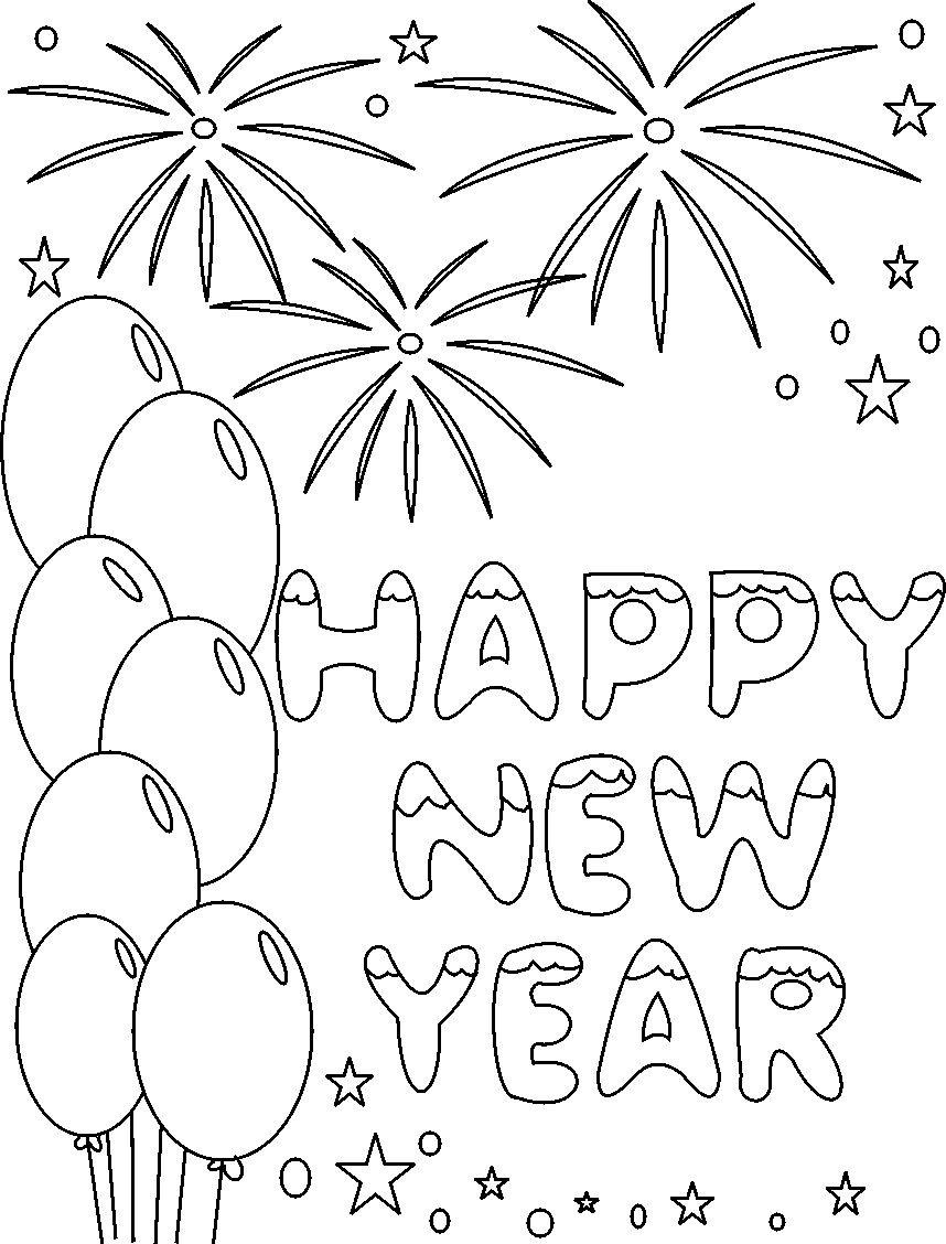 new year coloring pages kids