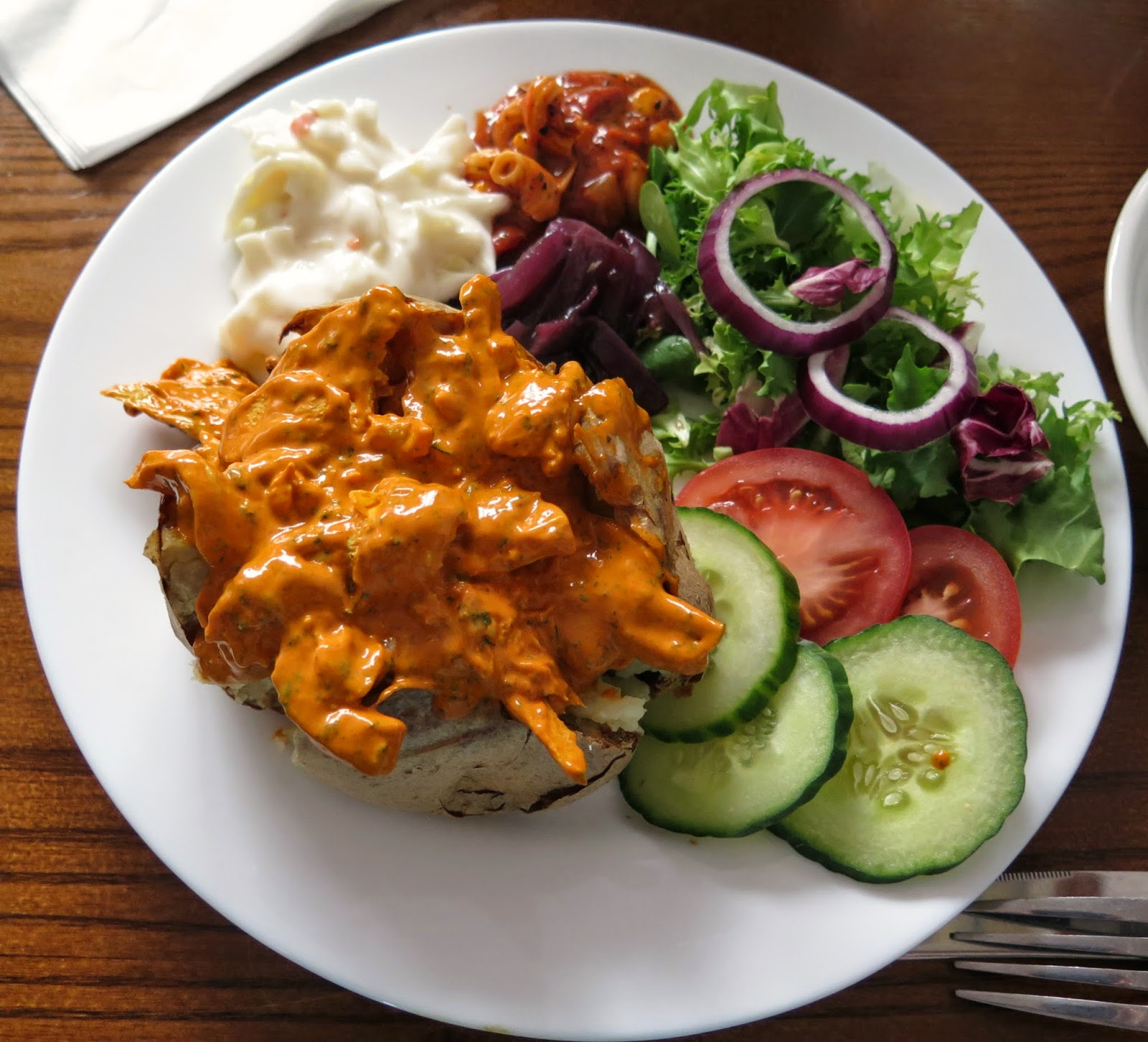 tikka jacket potato, colchester, coffee and cream