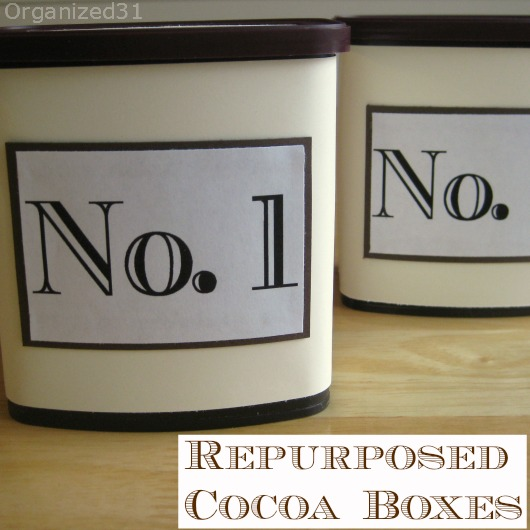 re-purposed cocoa cans
