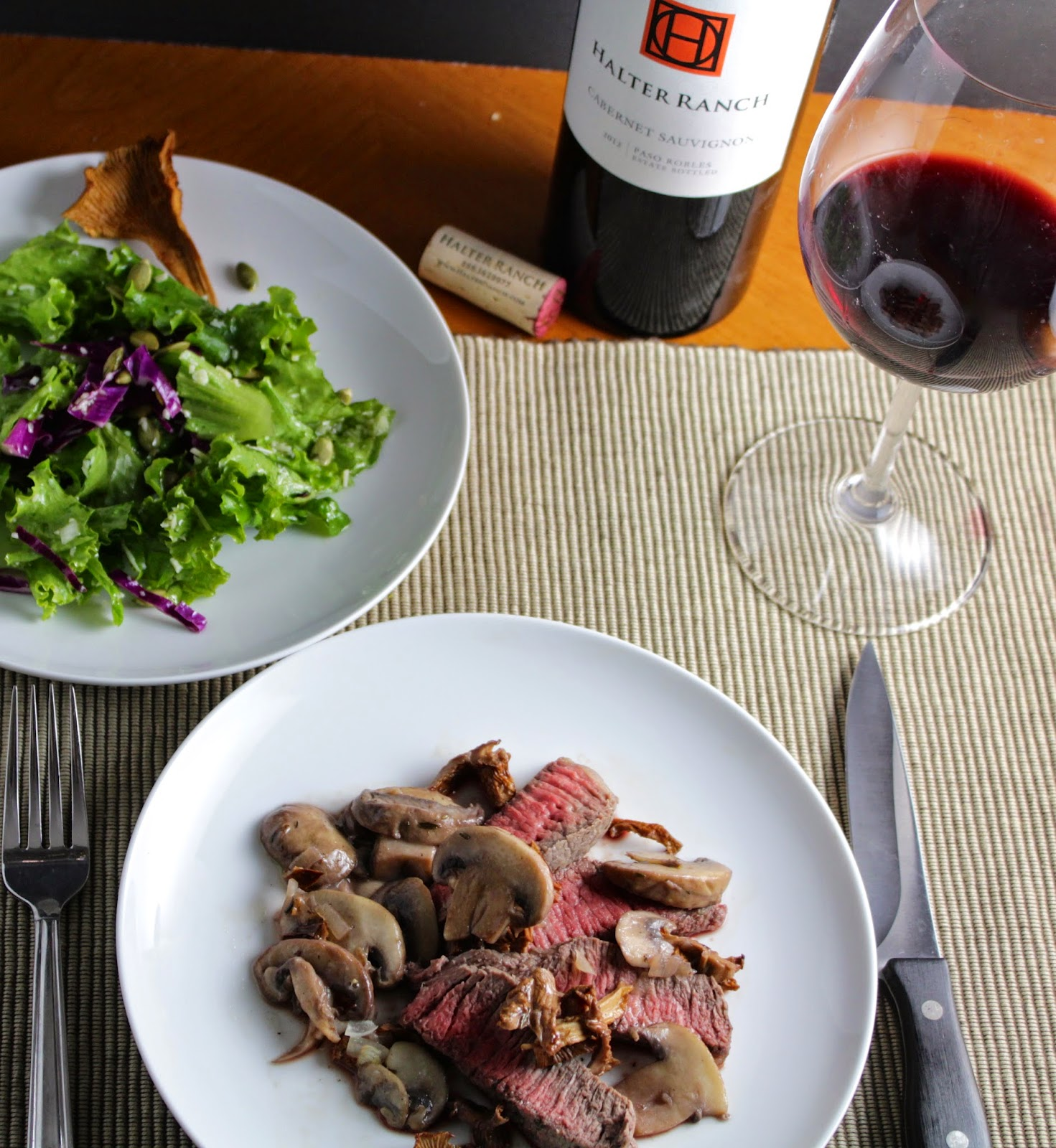 Roasted Sirloin Steak with Chanterelle Mushrooms and a Halter Ranch Cabernet. Cooking Chat recipe.
