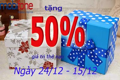 Mobifone tặng 50% giá trị thẻ nạp ngày 24/12 – 25/12
