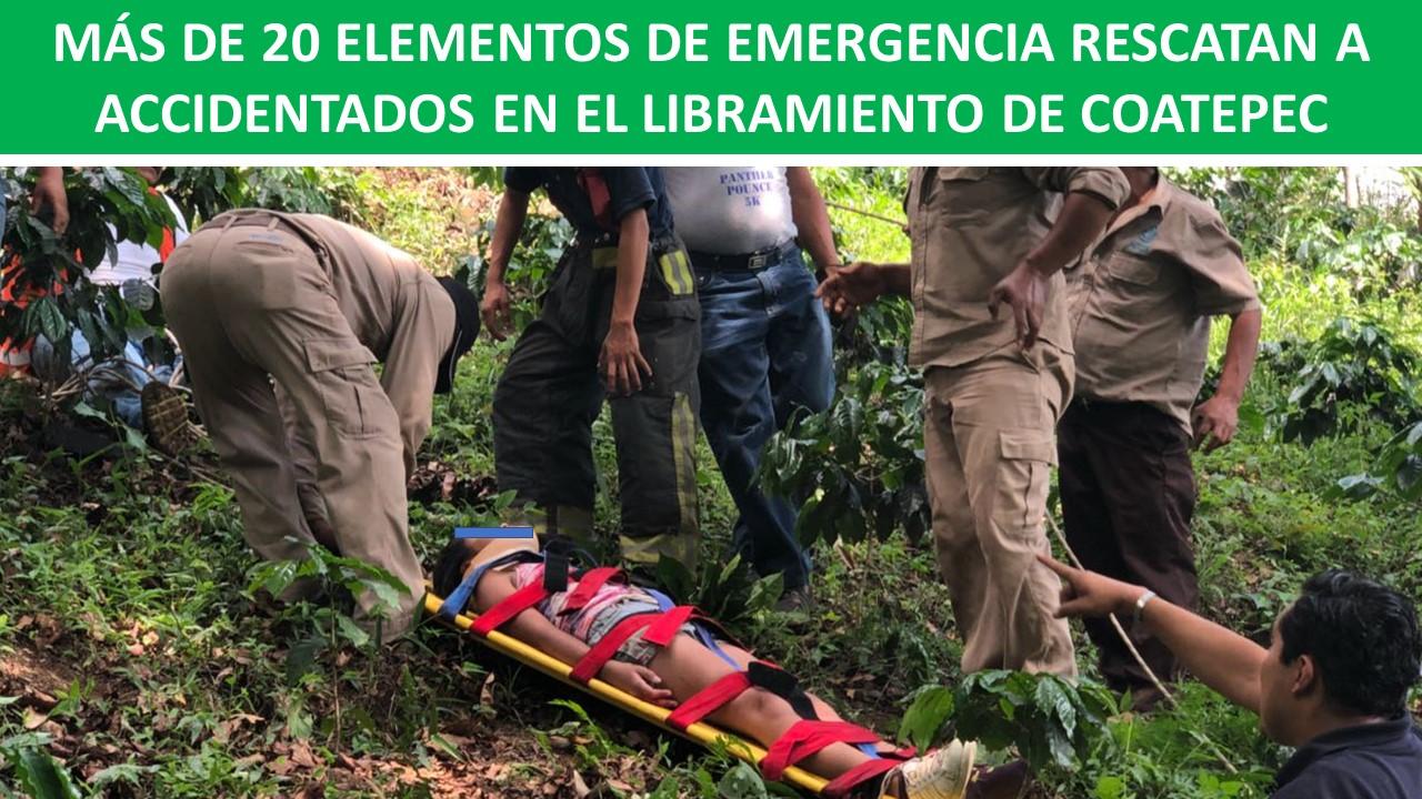 RESCATAN A ACCIDENTADOS EN EL LIBRAMIENTO DE COATEPEC