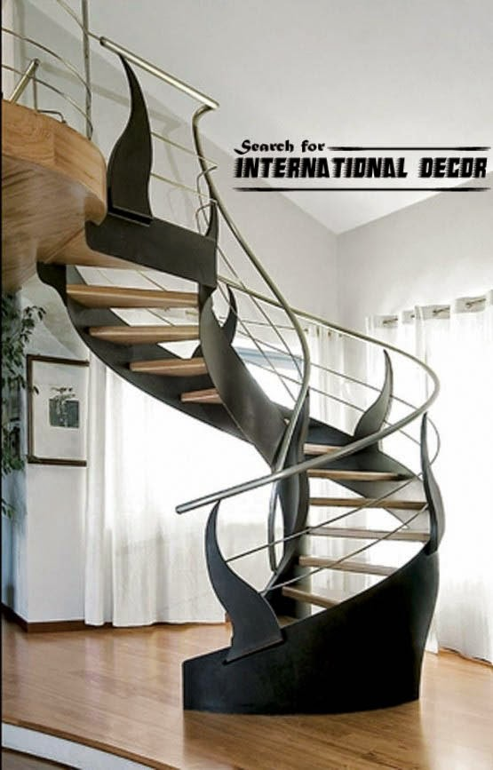Spiral Staircase To The Second Floor Or Attic In A Private