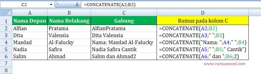 Menggabungkan data beberapa Cell di Excel