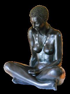 Statue style figuratif Femme nue, assise en tailleur