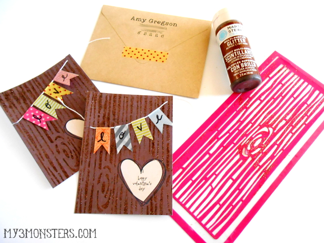 Easy Stenciled Wood Grain Valentines at my3monsters,com
