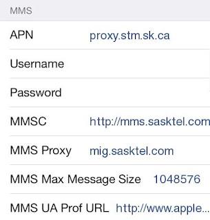 SaskTel MMS Settings for Apple iPhone