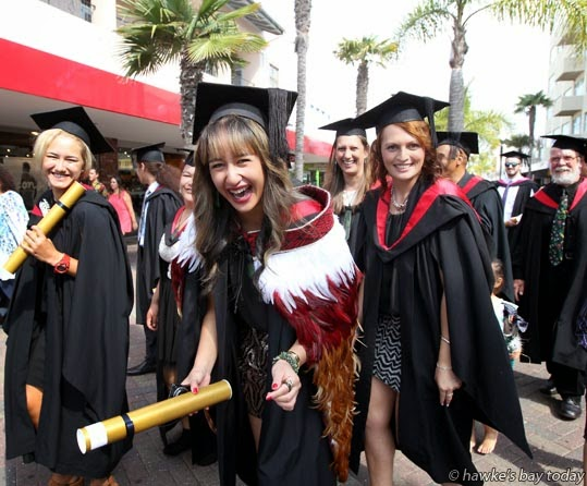 Hemi Bartlett, Hastings, taking part in the annual parade down Emerson St, Napier, for students graduating from EIT Eastern Institute of Technology, Taradale, Napier. photograph