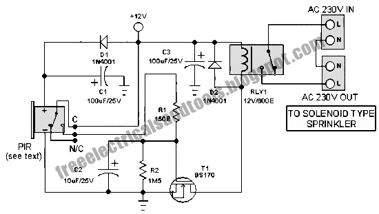 free schematic diagram  motion sensor switch circuit for alarm
