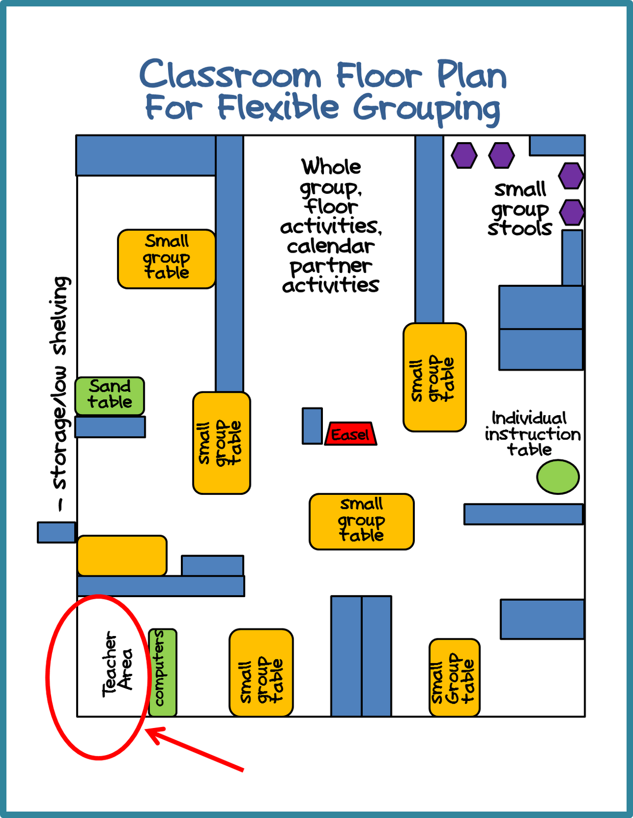 Pre Kindergarten Classroom Floor Plans http://www.differentiatedkindergarten.com/2012/06/kindergarten-daily-5-book-study-chapter.html