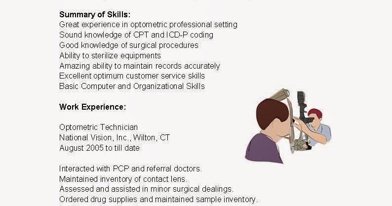 resume samples  optometric technician resume sample