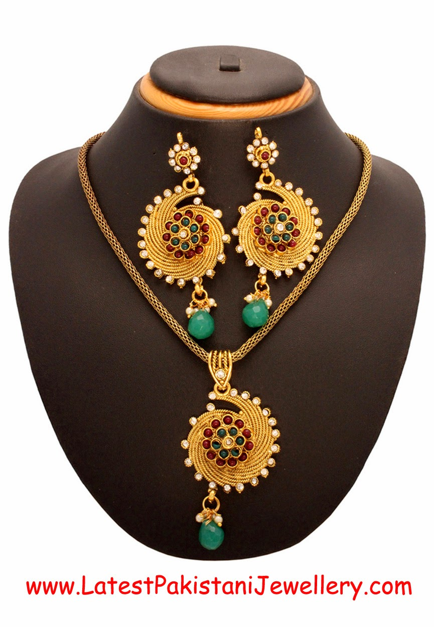 Multi colors with Austrian diamond Pendant Set