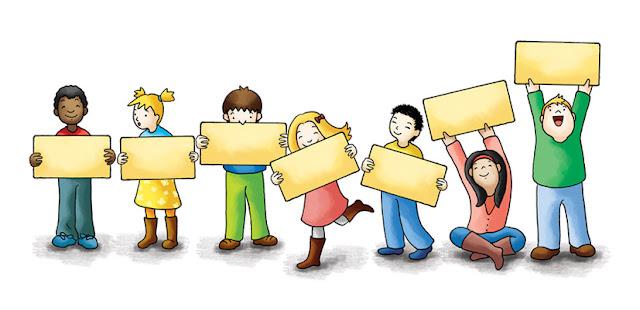 Ilustración de niños con carteles en las manos